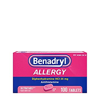 Benadryl Ultratabs Antihistamine Allergy Relief Tablets Diphenhydramine HCl 25mg 100 ct