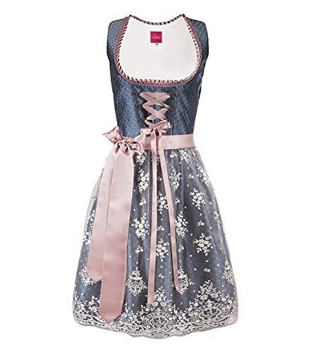 ELFIN Damen Trachten Elegante Dirndl Blau Midi Trachtenkleid für Oktoberfest inkl. Spitzenschürze Gr.34-48