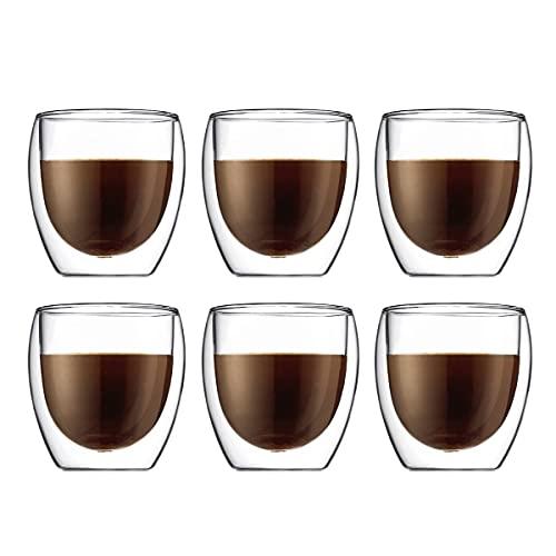Bodum 4558-10-12 Pavina 6-delige glazenset (dubbelwandig, geïsoleerd, 0,25 liter) transparant
