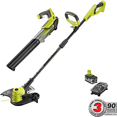 """Ryobi 18V Li-Ion Cordless 13"""" String Trimmer/Edger and Jet Fan Blower Combo Kit with Battery and Charger"""