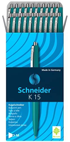 Schneider K 15 Druckkugelschreiber (dokumentenechte Mine - Strichstärke M, Schreibfarbe: grün) 20 Stück grün