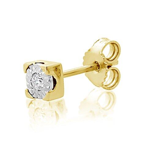 MILLE AMORI ∞ Mono Un Pendiente Oro y Diamantes Mujer Hombre - Oro Amarillo 9 Kt 375 ∞ Diamantes 0.015 Kt - joyas de fantasía