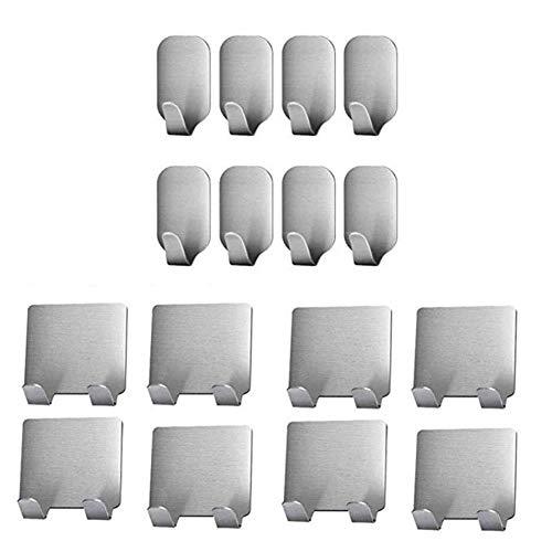 Angou Gancho autoadhesivo de acero inoxidable 304, 16 unidades, utilizado para cocina, baño, pared, sala de estar, armario, toallero, color plateado (16 piezas)