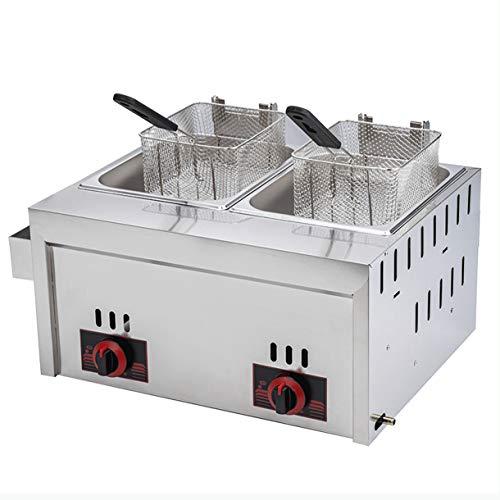 Freidora eléctrica de doble cilindro freidora de acero inoxidable fácil de limpiarfreidora profesional con control inteligente de temperatura para cocinar alimentos y papas fritas restaurante famili