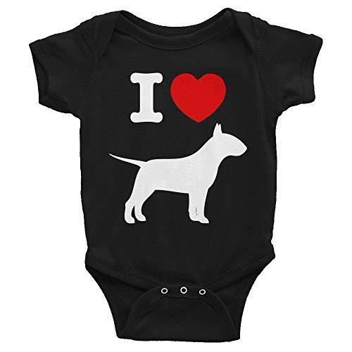 "Toll2452 Body para bebé, Bull Terrier, ropa de bebé, body de manga corta con texto en inglés ""I Love Bull Terriers"
