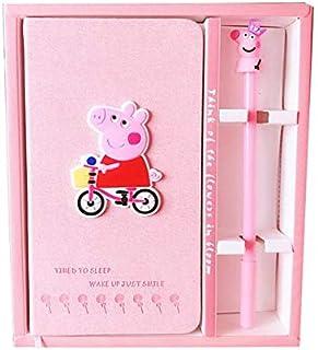 مجموعة دفتر مع قلم جل، مصنوعة يدويا - هدية عيد ميلاد دفتر يوميات للبنات والاطفال