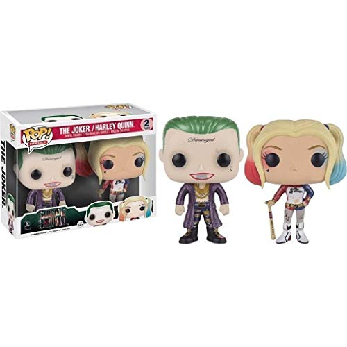 Lotoy Pop Heroes : Suicide Squad - Joker and Harley Quinn Figure Gift Vinyl 3.75inch for Movie Fans Gift