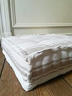 Tufted French Mattress Cushion in Striped Baltic Linen, fully handmade to order