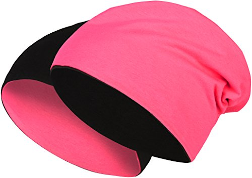 Balinco 2 in 1 Wendemütze - Reversible Slouch Long Beanie Jersey Baumwolle elastisch Unisex Herren Damen Mütze Heather in 24 (8) (Black/Pink)