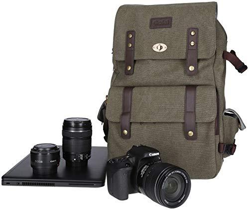 Rollei Vintage Fotorucksack / Everyday Backpack mit 30 l Fassungsvermögen, Kameraschnellzugriffsfach, handgepäcktauglich, für DSLM / DSLR passend, inkl. Regenschutz - grün