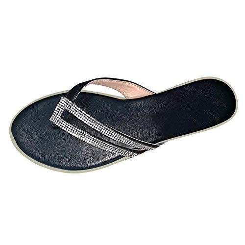 Sandalen Hausschuhe Schuhe Frauen Sommer Flip-Flops Open Toe Strass Casual Strandschuhe Wohnungen Hausschuhe (40,schwarz)