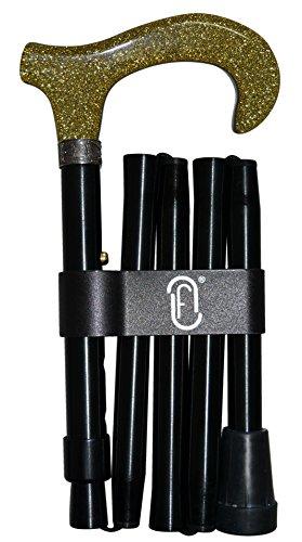 Finna 49371A Gold Glitzer Gehstock faltbar und verstellbar Aluminium Schwarz