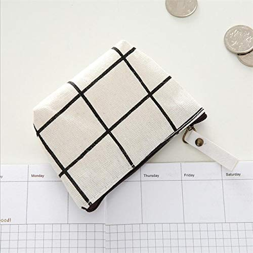 Monedero de Lona Unisex Clave de la Tarjeta Mini Bolso de la Cartera Bolso de Lona pequeño Monedero con Cremallera Monedero Billetera Titular de la Tarjeta Billetera Cuatro Colores-White