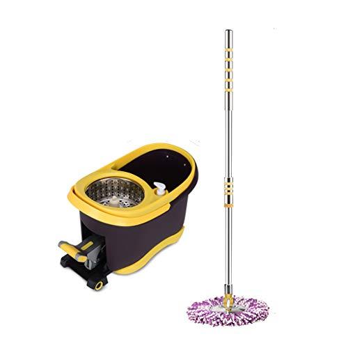 Trapeador Spinning Mop and Bucket Cleaning Set Pedal Antideslizante Presión de la Mano 2 en 1 Cabezal de fregona marrón para el hogar Ajustable * 2