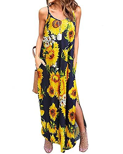 Kidsform Sukienka maxi damska letnia sukienka słonecznik sukienka plażowa bez rękawów długa sukienka lato A6 kwiaty S