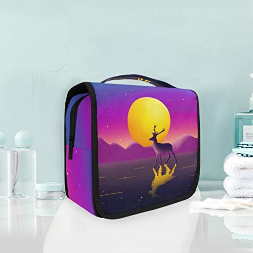 Mr.XZY Toiletry Bag Cute Reindeer Bright Moon Watercolor Painting Multifunction Cosmetic Bag Lovely Animal Romantic Portable Makeup Pouch Travel Hanging Organizer Bag for Women Girls 2010448