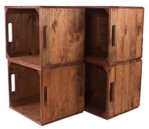 Kontorei® Holzkiste Used für Kallax Regale 33cm x 37,5cm x 32,5cm 4er Set IKEA Regalkiste rustikal Ikeaeinsatzkiste als Küchenregal Obstkiste Weinkiste Wandregal Badregal