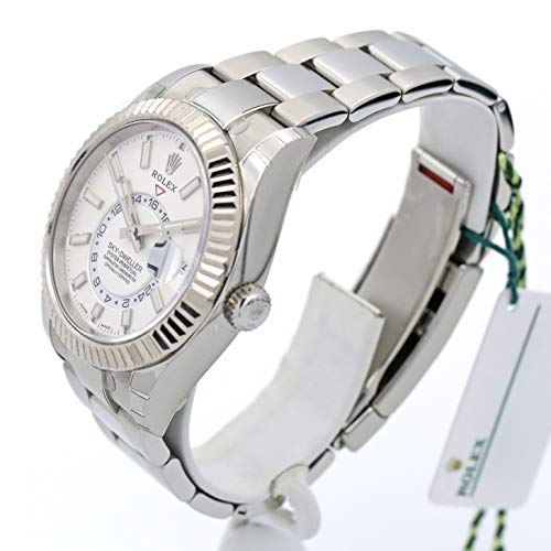 Rolex Mens 42MM Sky-Dweller Model 326934 Stainless Steel Bracelet, White Gold Fluted Bezel And A White Index Dial.