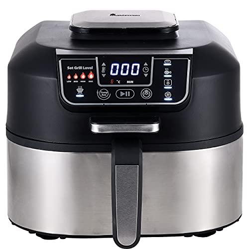 MasterPro Robot de Cocina - Grill Eléctrico, fríe, asa, hornea, freidora sin aceite, deshidrata, cocina, Air Fryer con Pantalla LED Táctil, 6,3L, Temporizador, Sin BPA ni PFOA, 1760W