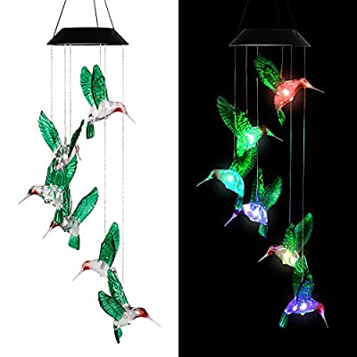 LINKPAL Solar Lights Chimes, Wind Chime, LED Solar Chimes, Memorial Wind Chimes, Changing Color Waterproof Wind Chime for Outdoor Decor, Home Garden Yard Decor, Home Party Night Garden (Humming Bird)