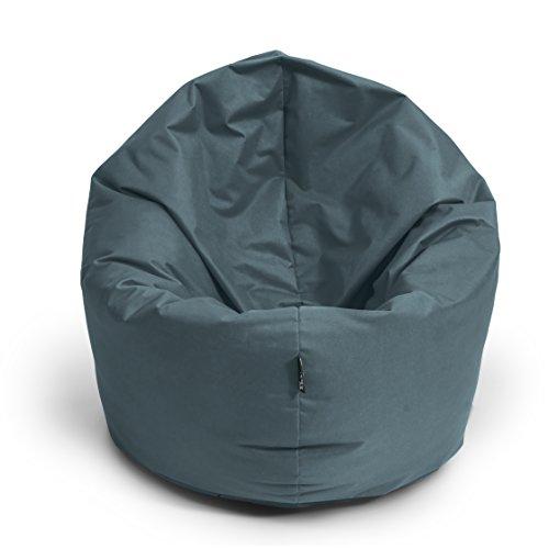 BuBiBag Sitzsack L - XXL 2 in 1 mit Füllung Sitzkissen Topfenform Bodenkissen Kissen Sessel BeanBag (125 cm Durchmesser, anthrazit)
