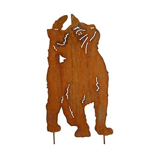 megaso-store Gartenfigur Metall - Katze auf Stab - Edelrost - Höhe 41,5 cm + Stab - Breite ca. 21,5 cm