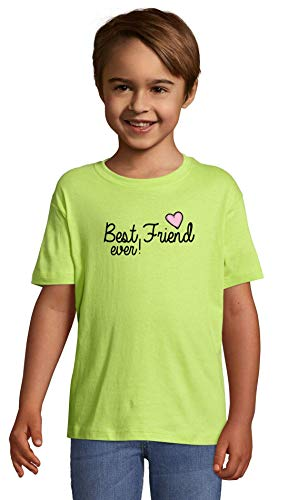 Atprints Best Friend Ever Pink Heart Styled Apple Green Crew Neck Kids T-Shirt 96-104 (4 Year)