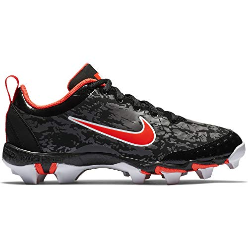 Nike Kids Hyperdiamond 2.5 Keystone Baseball Cleat, Black/White/Persian Violet/Infrared, 4 Big Kid