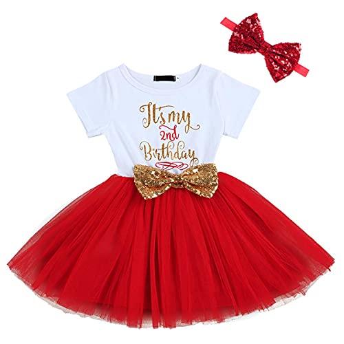FYMNSI - Vestido - Trapecio o corte en A - para bebé niña Rot 2. Geburtstag Kleid + Stirnband (2 Stück) 2 Años