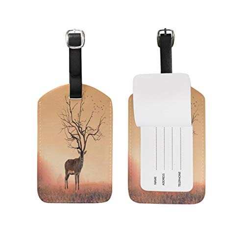 Luggage Tag Vintage Tree Branch Antlers Deer Stag Travel Tag Name Card Holder for Baggage Suitcase Bag 1 Piece