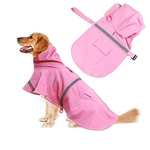 Oncpcare Reflecterende hond regenjas, Ajustable huisdier waterdichte kleding, lichtgewicht huisdier regen poncho jas hoodies voor kleine middelgrote grote honden, XXL, roze