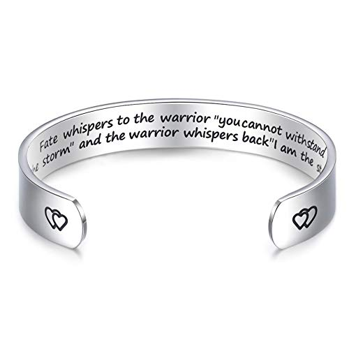 LParkin Encouragement Bracelet Warrior Bracelet Fate Whispers to The Warrior You Cannot Withstand The Storm. I Am The Storm 6 inches