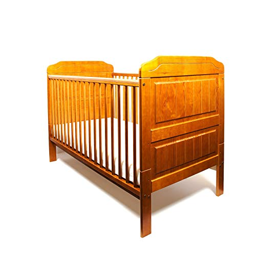 """New Solid Wood Convertible Cot Stanley Baby Antique Pine Honey Colour Cot Bed/Junior Bed/Toddler Bed + ECO HD Airflow Foam-Free Nursery Fibre Mattress 4"""" - 140x70x10cm"""
