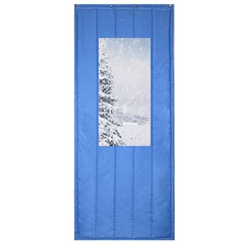 ZXL warmtewerende deurgordijn voor binnen, warmte-isolatie, winddicht, ingang huisdeur, koud blokkeren, aanpassen (kleur: blauw, maat: 150x240cm)