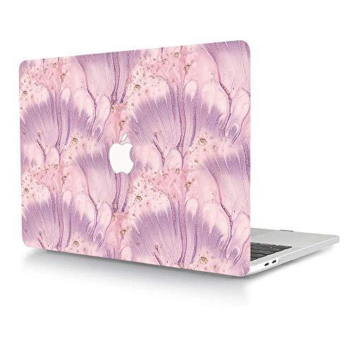 ACJYX Funda compatible con MacBook Pro de 15 pulgadas con pantalla Retina (modelo A1398 versión antigua 2015 2014 2013 finales 2012), diseño de impresión de plástico rígido, rosa y morado