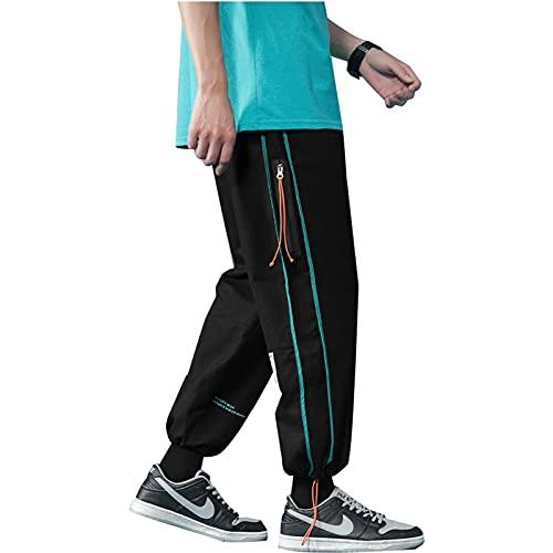 2021 Pantalones deportivos nuevos, pantalones de jogging de algodón con bolsillos con cremallera, pantalones deportivos y cómodos cómodos, estiramientos transpirables. ( Color : Black , Size : XL )