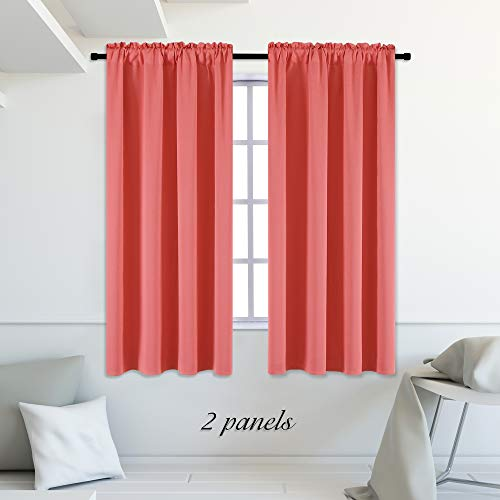 DONREN Coral Blackout Curtains Rod Pocket Curtain Panels - Thermal Insulated Curtains for Living Room (42 W x 63 L Inch,2 Panels)