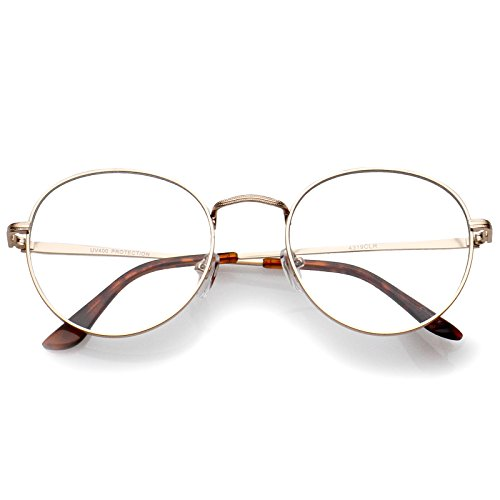 zeroUV - Classic Slim Metal Frame Clear Flat Lens Round Eyeglasses 52mm (Gold/Clear)