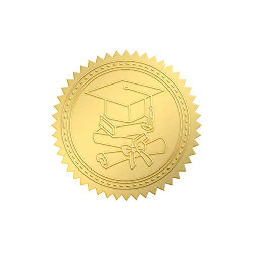 CRASPIRE 100PCS Sello de Premio Graduación Pegatinas de Lámina Dorada Etiquetas de Sello de Oblea Etiquetas Redondas Sello Sello de Premio de la Empresa para el Reconocimiento del Profesor Profesor