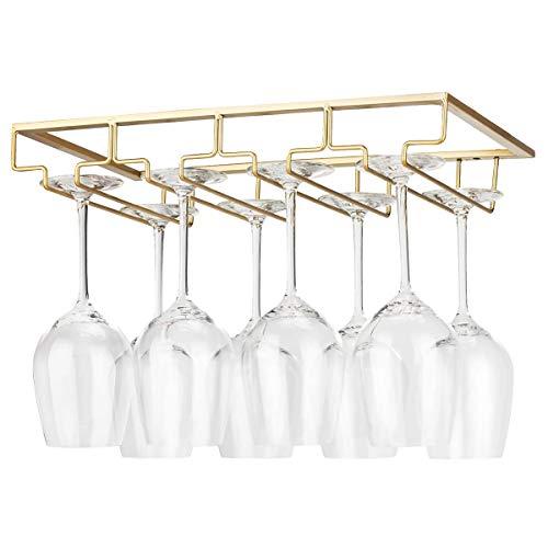 YunNasi Soportes para Copas de Vino de Metal Organizador Mantener los Vasos Secos Debajo del Gabinete con Tornillos para Bar Restaurante Cocina (4 Filas, Dorado)