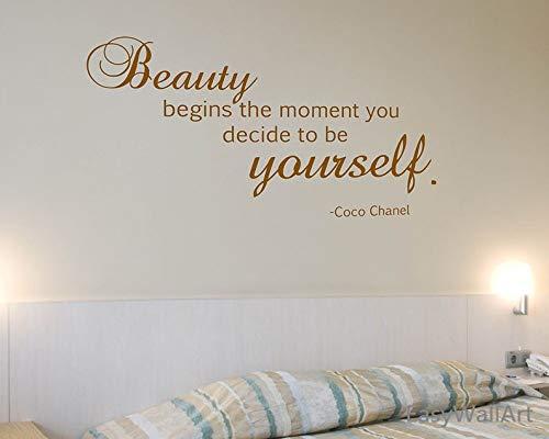 CECILIAPATER Wandtattoo Coco Chanel Zitate für Wohnzimmer, Vinyl, Coco Chanel Wand-Dekoration Schlafzimmer Chanel Wand-Aufkleber #Q11