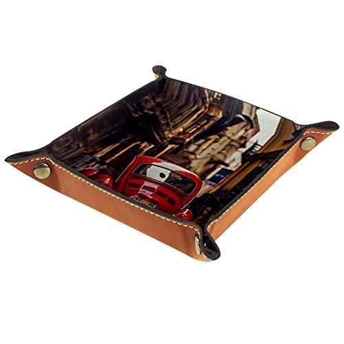 Yumansis Bandeja plegable de cuero para dados con broches para DnD, juegos de mesa, edificios de almacenamiento, coche rojo 16 x 16 cm
