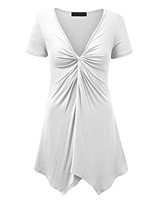 Lock and Love LL WT1359 Short Sleeve Knot Front Baby Doll Tunic M White