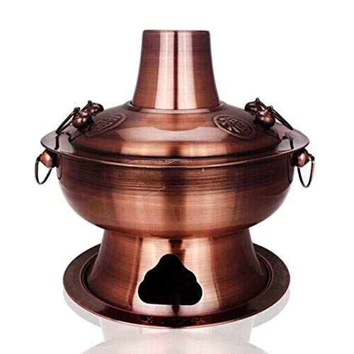 SMBYQ Cinese Tradizionale Carbone Rame Hot Pot, zuppa Cinese Fornello, Camping Home USA Buffet