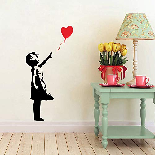 mmzki Adhesivo de Pared Banksy Inspirado por una Chica Globo - Vinilo Adhesivo para Arte de la Pared Banksy 116 * 156 cm