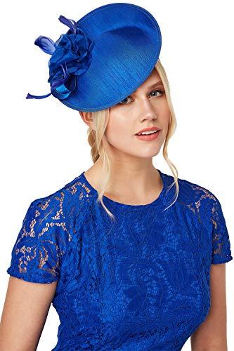 Roman Originals - Tocado para mujer, diseño de disco, ideal para el verano, día de la carrera, día de la madre, novio, boda, invitados Azul azul real Taille unique