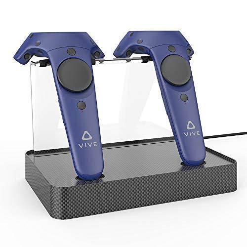 AMVR Dual Charger Magnetic Ladestation / Ständer, Unterstützung Firmware Upgrade für HTC VIVE oder Pro Controller (Carbon Fiber)