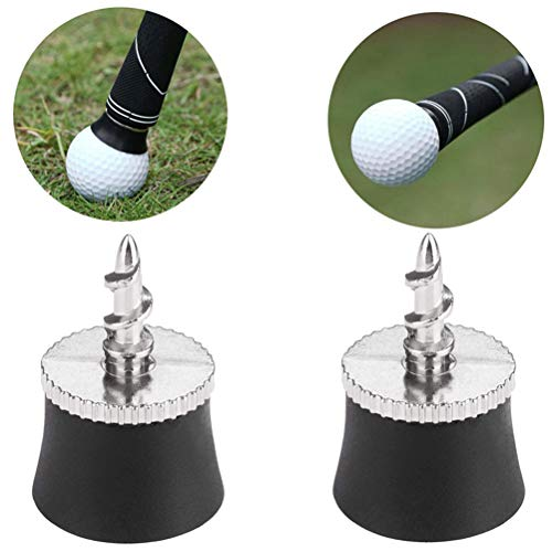 Yesoa 2 Stück Golf Ball Pick Up Putter Grip Saugnapf Gummi Pickup Golf Training Aids Sucker Retriever Tool Mini Golf Ball Pick Up Tool Golf Zubehör