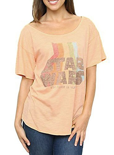 Star Wars The Force Is Strong Vintage Off the Shoulder Peach Juniors T-shirt (Juniors Small)
