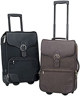 """Leather 21-inch Rolling Carry On Upright Suitcase - 14"""" x 21"""" 7.5"""" Black Solid Multi-Compartment Lined"""